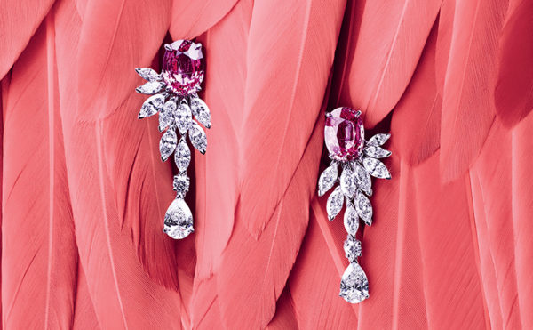 Piaget Sunny Side of Life earrings with oval cut pink sapphire from Madagascar totalling over 7.6 carats
