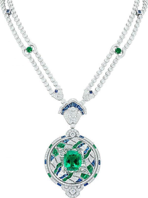 Van Cleef & Arpels Émeraude en majesté Tailsman papillons necklace with a cushion-cut 16.52-carat Chivor Colombian old-mine emerald, along with blue sapphires, emeralds, diamonds, and cultured pearls