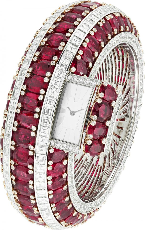 Van Cleef & Arpel's Rubis Secret watch is a set with 115 Mozambique rubies weighing a total of 151.25-carats.
