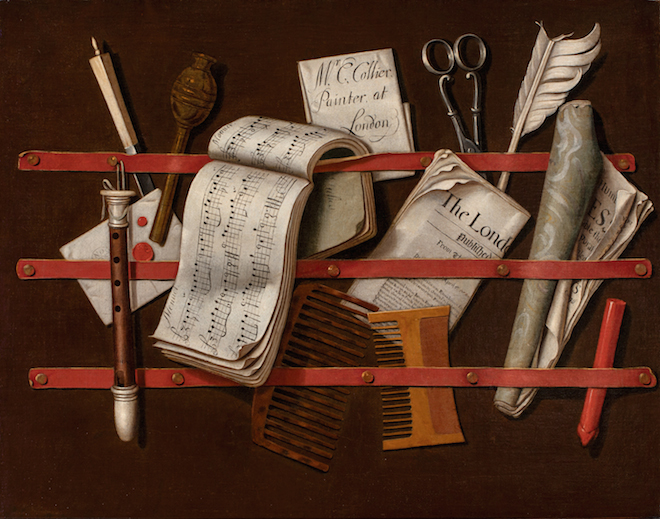 'Letter Rack' (detailed view), Edweart Collier.