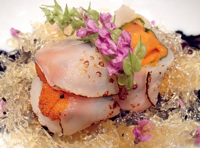 'Uni' or edible portions of sea urchin wrapped in fresh scallop. Image courtesy of Sushi Mitsuya Facebook Page