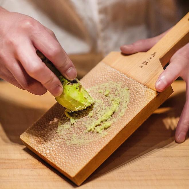 Fresh wasabi at Shinji by Kanesaka. Image courtesy of Shinji by Kanesaka Facebook Page.