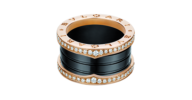 B.zero1 in pink gold and black ceramic with pavé diamonds along the edges. Image courtesy of Bulgari