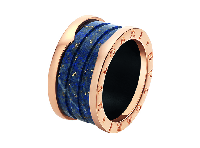 B.zero1 pink gold and blue marble four-band ring. Image courtesy of Bulgari