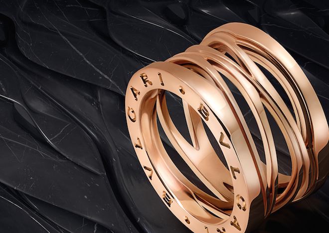 The B.zero1 Design Legend by Zaha Hadid ring in pink gold. Image courtesy of Bulgari