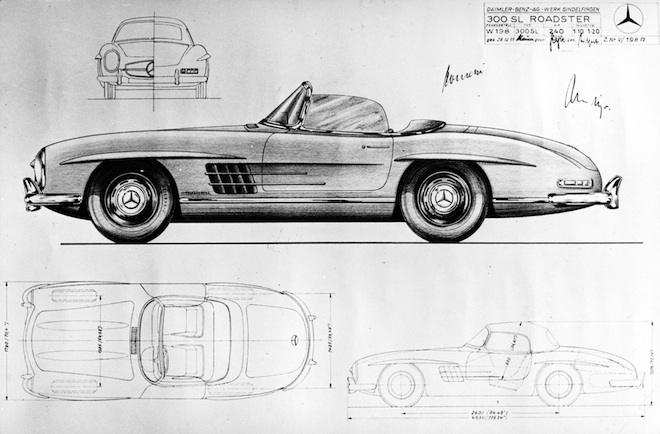 Mercedes-Benz 300 SL Roadster (W 198 II, 1957 to 1963). Drawing dated 29 December 1955. Image courtesy of Daimler AG
