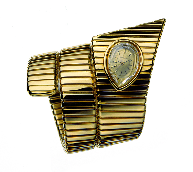 """Tubogas"" bracelet-watch in gold, ca 1972."
