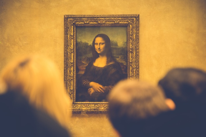 "Leonardo da Vinci's ""Mona Lisa"" at the Louvre museum in Paris."