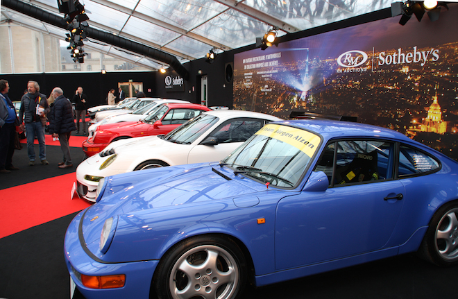 A row of Porsches at the RM Sotheby's Paris 2017 sale at Place Vauban in February this year. | © Christopher Head