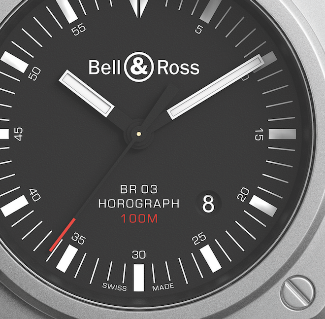 Detailed dial view of the Bell & Ross BR 03-92 Horograph
