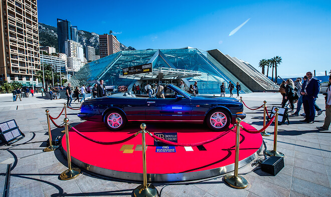 A Bentley Azure painted with two million diamonds, on show at Top Marques Monaco 2017. Image courtesy of Top Marques Monaco 2017