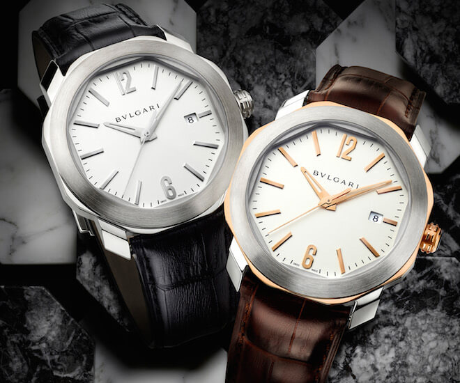 Bulgari Octo Roma with steel case (left) and pink gold and steel case (right). Image courtesy of Bulgari