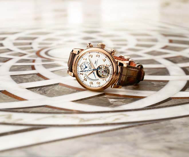 The IWC Da Vinci Tourbillon Rétrograde Chronograph comes in a red gold case