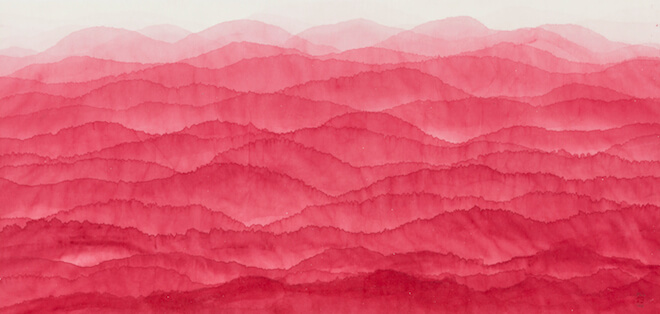 Kim Minjung, 'Red mountain', 2016, watercolour on mulberry Hanji paper