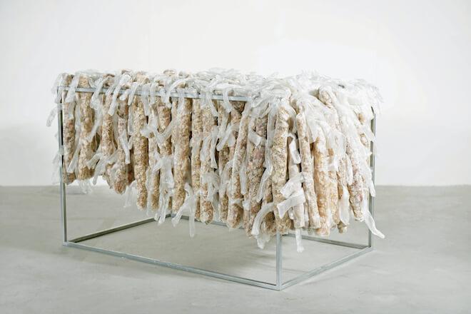 Lai Dieu Ha, 'Collecting skins — kungfu by time', 2015, Polyester chiffon fabric, dried garlic skin, B40 steel net