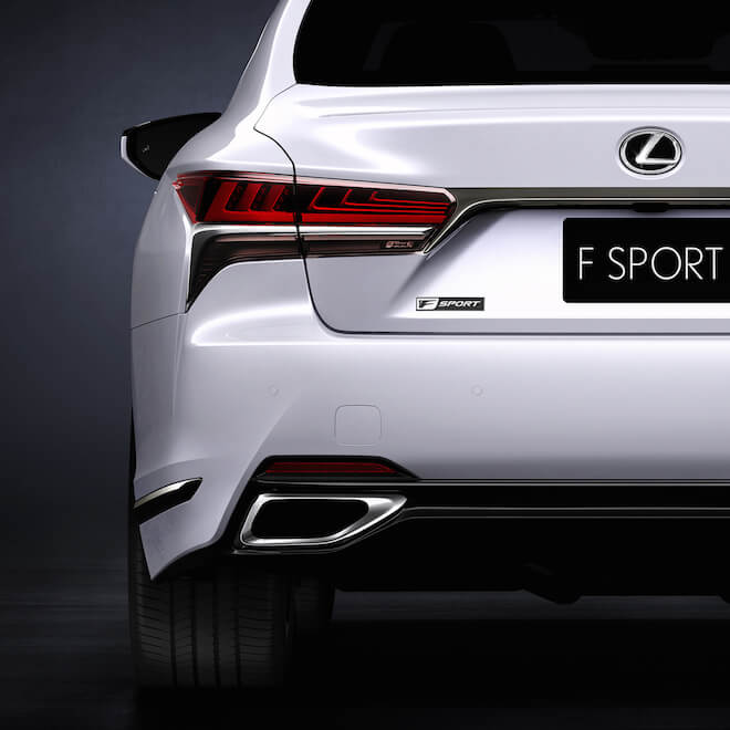 Set to have a more powerful engine and aggressive-looking exterior, the Lexus LS 500 F Sport will be unveiled later this month at an auto show in New York. Image courtesy of Lexus