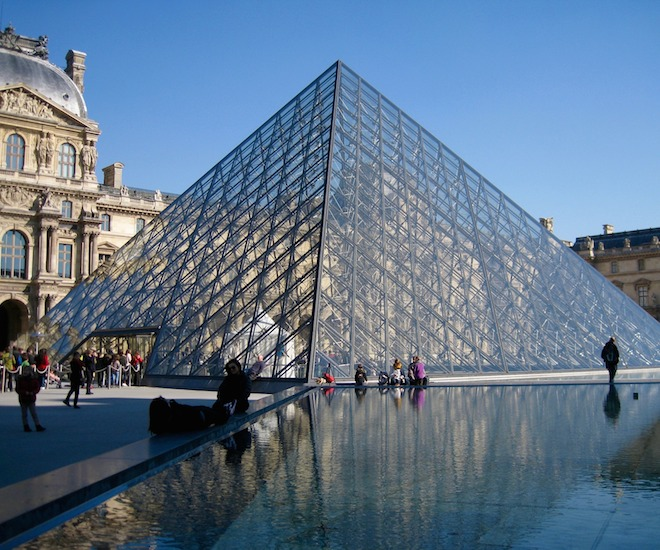 The Louvre Pyramid, designed by Chinese-American architect I.M. Pei, in the courtyard of the Louvre Museum