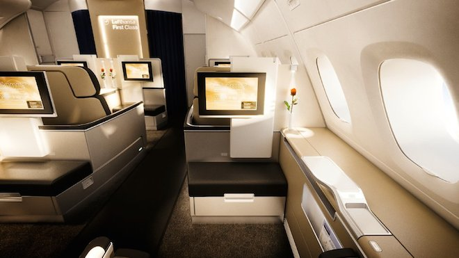 Lufthansa First Class Cabin on A380 flights. Image Courtesy of Lufthansa Facebook Page