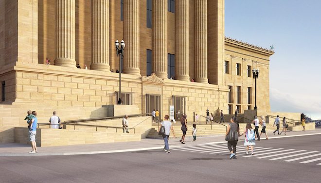 The envisioned West Entrance of the Philadelphia Museum of Art after Frank Gehry's uplift, with new access-friendly ramps that give the entrance a contemporary aesthetic. Architectural rendering by Gehry Partners, LLP and KX-L