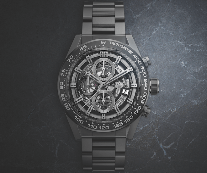 The TAG Heuer Carrera Heuer-01 Full Black Matt Ceramic's case is water resistant for up to a hundred metres