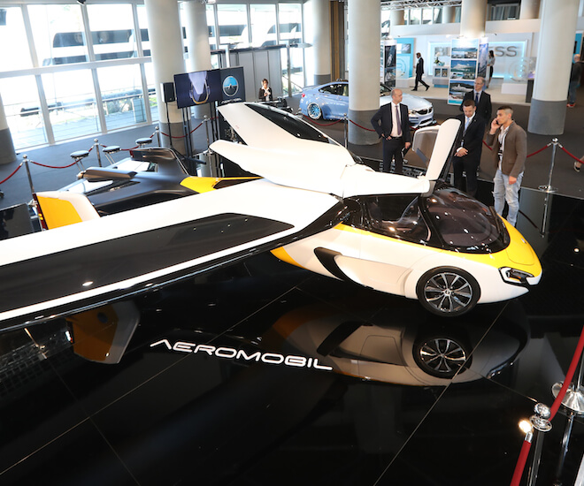 "The Aeromobil, a flying supercar is on display as part of the ""Top Marques"" show, dedicated to exclusive luxury goods, on April 20, 2017 in Monaco. © Valery Hache / AFP"