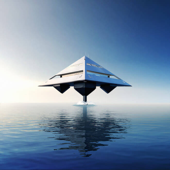 The Schwinge HYSWAS Tetrahedron Super Yacht. Project instigation and Designer: Jonathan Schwinge / SCHWINGE; TETRA Lightweight Technologies & Project Management: Marcel Müller, INMAINCO Visionary Marine Management; TETRA HYSWAS Propulsion: The Maritime Applied Physics Corporation, USA; CGI Images: EYELEVEL CREATIVE