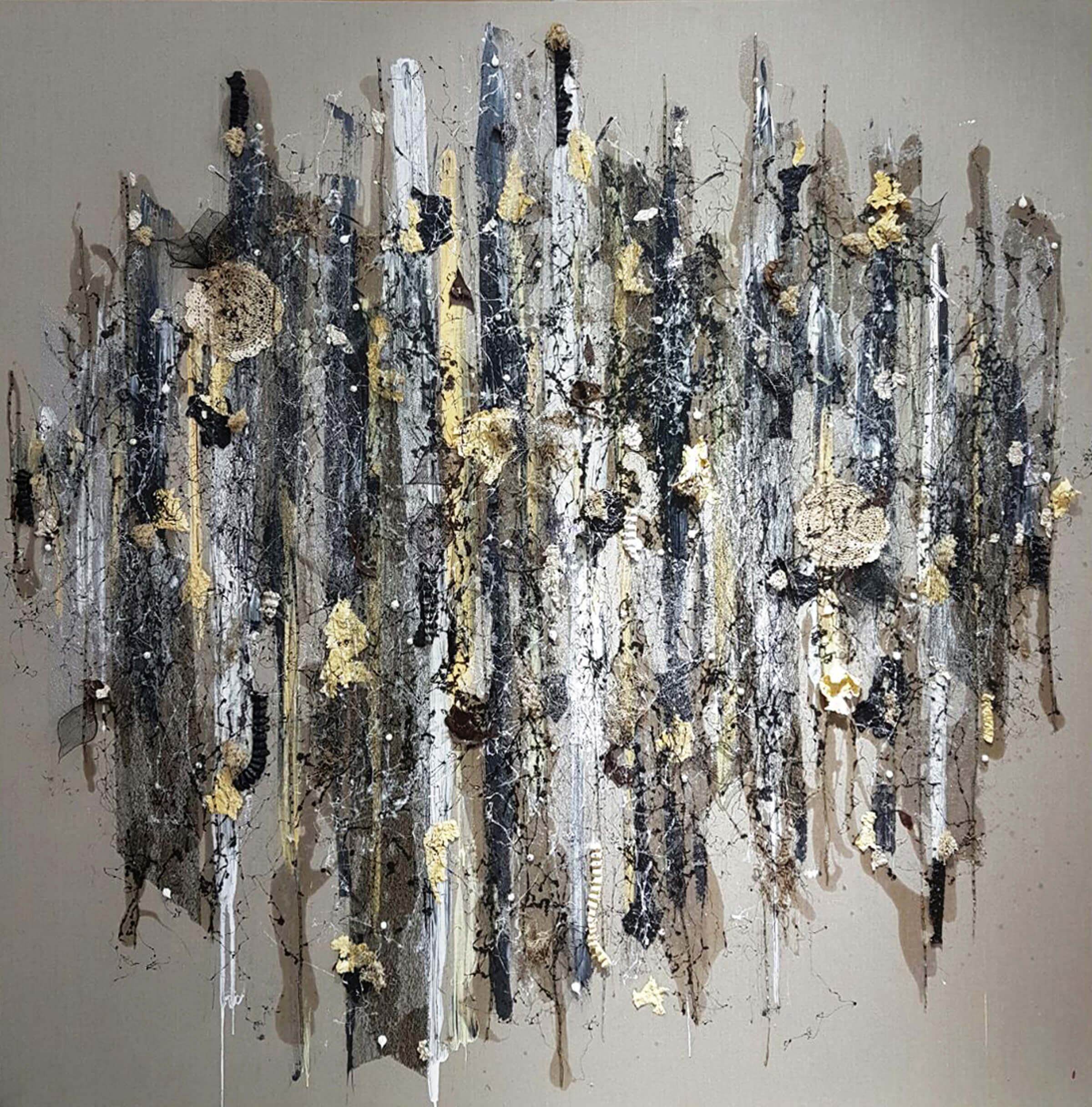Laila Azra_Cerita Zaman_Mixed media on canvas_200x200cm_2017