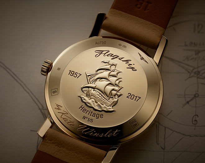 The caseback for the Longines Flagship Heritage by Kate Winslet doesn't just come with engraving for a 16th century caravel flagship but also with her signature.
