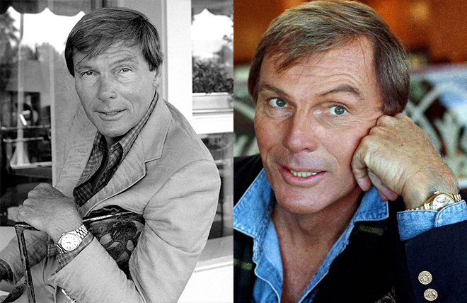 In addition to his yellow gold Rolex Oyster Perpetual Day-Date, Adam West was dressed predominantly in Ralph Lauren when he played Bruce Wayne.