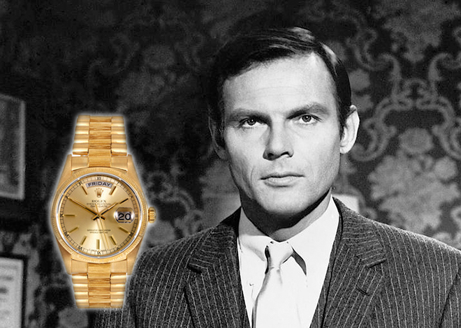 The rakishly handsome West loved his yellow gold Rolex Day-Date so much that a number of his reel characters wore his real life timepiece.