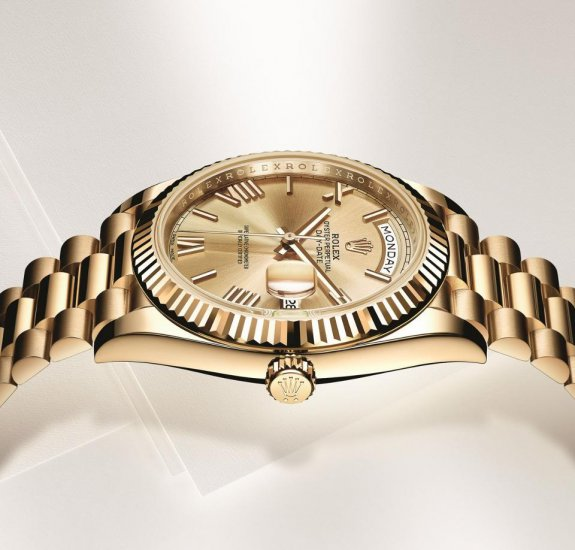 Minimalist Roman numeral hour markers are a nice touch on the new yellow gold and white gold Rolex Day-Date models.