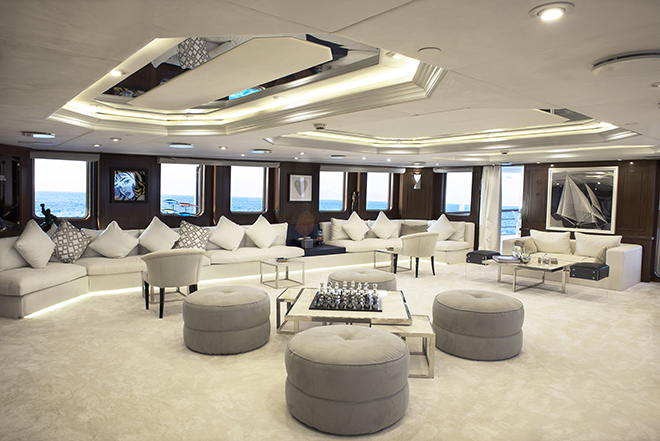 The living area on the Chakra superyacht, ground zero of where VIP guests will mingle while they wait for their appointment