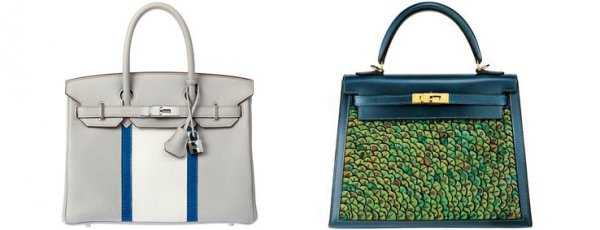 Hermes Birkin on the left and the Kelly, pictured right.