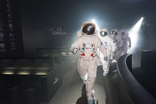 The march of astronauts, reminding us that a journey to the moon is not the endeavour of one but a joint effort of men (and one important watch - the Speedmaster Moonwatch)