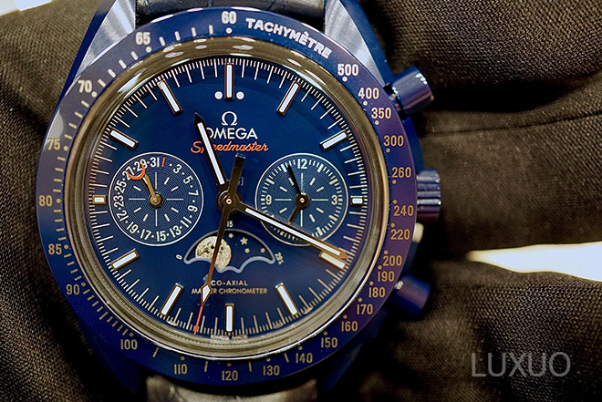 "Omega Baselworld 2017 novelty: Omega Speedmaster Chronograph Moonphase Co-Axial Master Chronometer ""Blue Side of the Moon"""