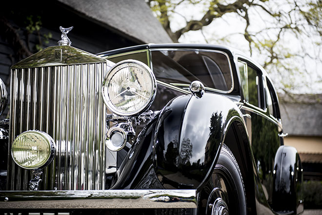 The Rolls-Royce 'Butler' Phantom 3, one of Monty's Triple joins the lead up to the opening of the fair as Rolls-Royce Phantoms from all over the world journey to London to share their legendary histories