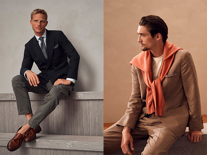 For Brunello Cucinelli spring 2018 menswear, a dressed up sombre double breasted ensemble can be dressed down with grey chinois and tassel loafers worn sockless. Alternatively, exchange shirt with t-shirt and pull a disheveled jumper over the shoulders for that well-worn look.