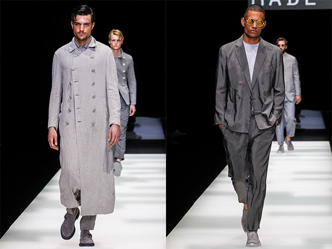Giorgio Armani Spring 2018 menswear was home to larger than life menswear staples like a mixed linen long double-breasted trench and a relaxed grey double-breasted notch-lapel ensemble.