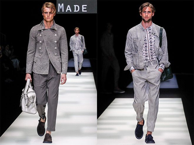 Stone, silver and slate featured strongly in the initial looks for Giorgio Armani spring 2018 menswear. At one point, an Armani overcoat was reminiscent of a pivotal scene in Gattacca and The Untouchables albeit in grey.