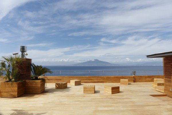 The roof terrace of the Villa Astor Sorrento providing 180 degree sea views off the Gulf of Naples