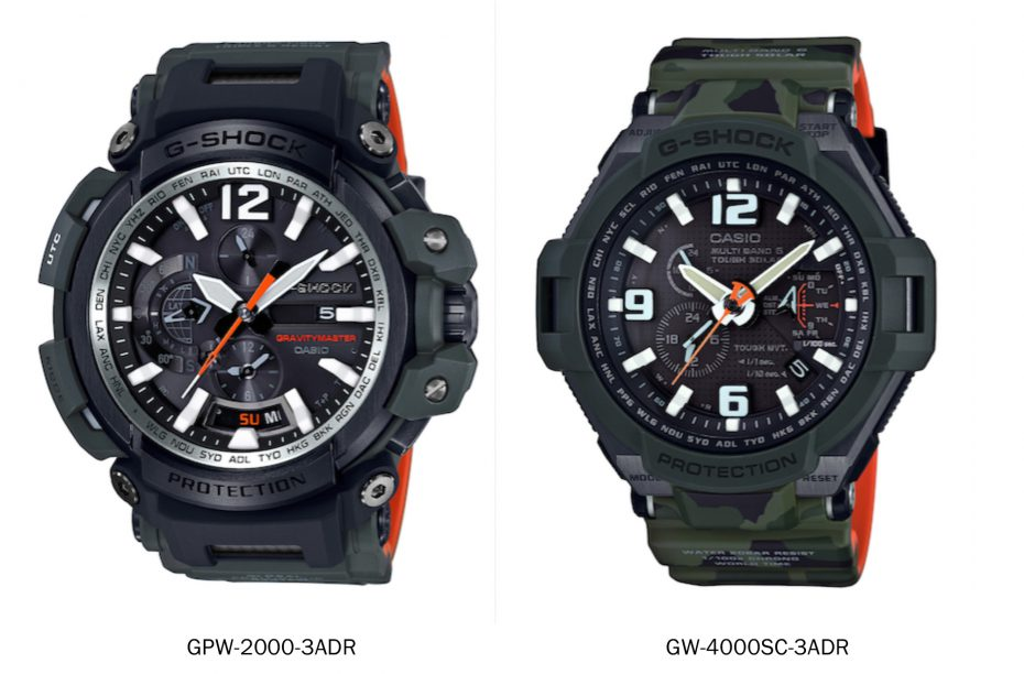 Equipped with G-Shock's Tough Solar Power function and Triple G Resist, the GW- 4000SC-3ADR (right) features a mineral case with a camouflage resin case and band.