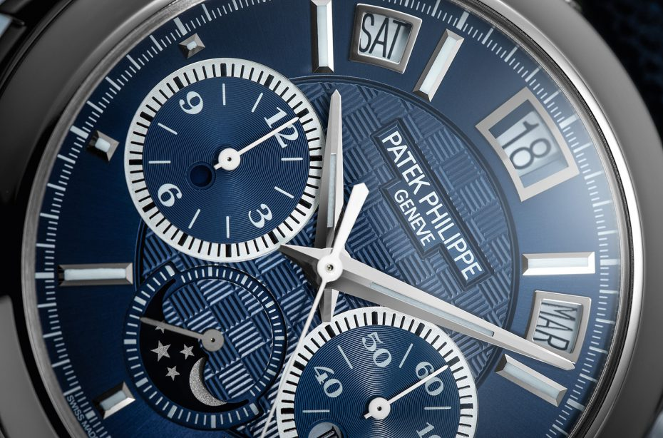 Within the iconic Patek Philippe ref. 5208P, an automatic Patek calibre R CH 27 PS QI with Minute Repeater, monopusher 12-hour chronograph and instantaneous perpetual calendar drives the indicators showcased on the luxuriant blue textured dial.