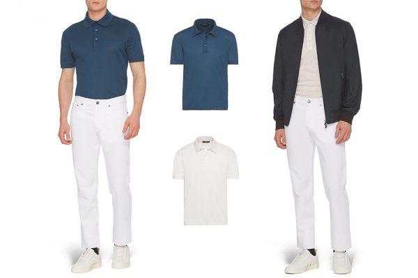 Left: Ermenegildo Zegna blue cotton pique polo jersey with white denims. Right: Ermenegildo Zegna off white cotton pique polo jersey