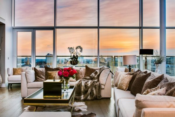 Living room of the exclusive five bedroom penthouse at 375 Kensington High Street