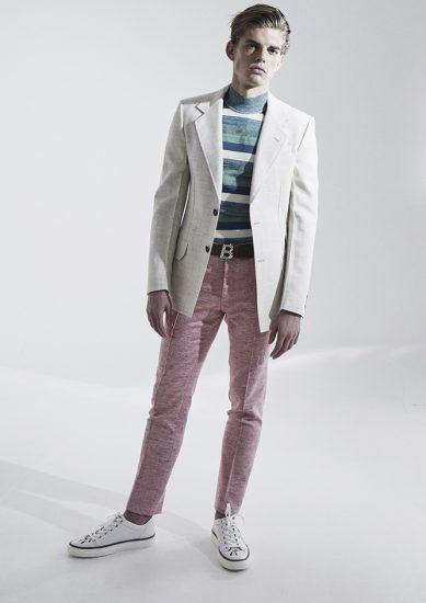 "New rules of classic elegance dictate that one can get experimental with textures and colours without going the ""full Ronald McDonald"" - Here, Bally cotton jacket with wool sweater, cotton pants, leather belt and canvas sneakers - coincidentally, this is also a smart casual look"