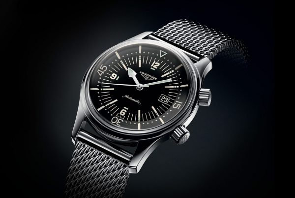 "New classic mens style rules also mean going ""vintage"" - here, the new Longines Legend Diver ref. L3.674.4.50.6, equipped with the unique inner rotating bezel and Longines' L633 movement, now on ""shark mesh"" or milanese bracelet for a dressy or casual aesthetic depending on your ensemble."