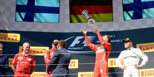 F1 Hungarian Grand Prix 2017: Sebastian Vettel and Kimi Raikkonen celebrate victory in Budapest