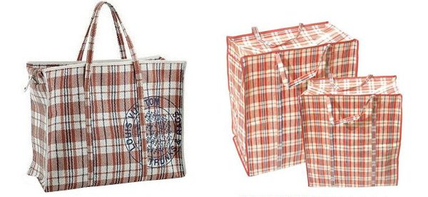 "Pictured left: Louis Vuitton shopping bag. Right; ""Chinatown"" shopping bag popularised by Chinese immigrants"