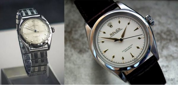 Left: Mr. Lee Kuan Yew's 1953 Rolex Oyster Perpetual. Right: Close up of a pristine version of that same vintage model
