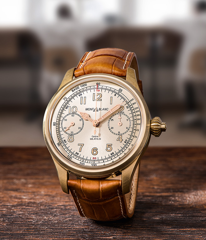 The 1858 Chronograph Tachymeter Limited Edition's bronze case has been matched with a champagne-coloured dial